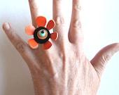 Upcycled tide-orange flower ring