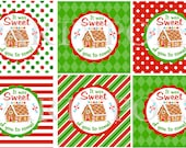 Gingerbread Party, Thank You,  Favor Tag,  Cookie Exchange, Christmas Party, Holiday Party, Gingerbread House,  INSTANT DOWNLOAD