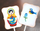 Matryoshka Dolls, Birds and Flowers - Cupcake Toppers/Party Sticks
