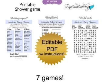 DIY editable printable baby shower games PDF blank (No.2) word search scramble bingo price purse Digital File