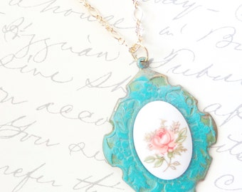Vintage Limoges Rose Necklace - Verdigris - Patina - Pink Flower