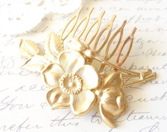 Golden Rose Blossom Hair Comb - Leaf Hair Comb - Wedding Hair - Bridal - Woodland Collection - Whimsical