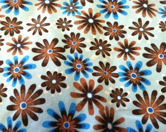 "Flower Power"" print fabric in blues"