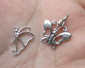 Sterling Silver Butterfly Charms - Open Work Or Solid Butterfly