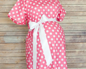 Maternity Hospital Delivery Gown in Pink Polka Dots -Super Soft Fabric -Perfect Snaps for Breastfeeding & Skin to Skin -Snaps down the back