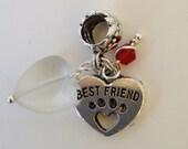 Best Friend Paw Print European Charm Bead