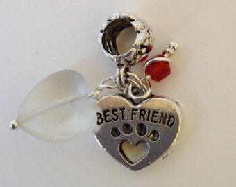 Best Friend Paw Print European Charm Bead Bracelet Necklace Anklet Charm (LGD102)