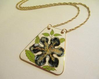 Vintage 70's Enamel Floral Pendant DEADSTOCK