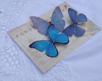Hand Cut silk butterfly hair clip - Trio of Blues