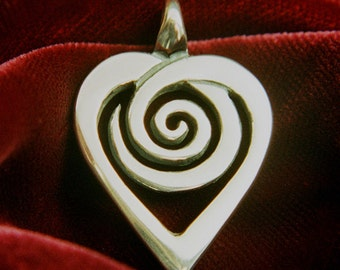 Spiral Heart Pendant / Necklace - Sacred Symbols Collection - Silver Symbolic Jewelry by K Robins Designs