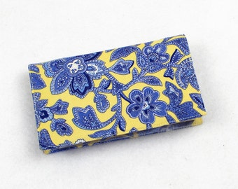 Checkbook Cover for Duplicate Checks with Pen Holder - Quilt For A Cure Cotton Fabric in Blue and Yellow