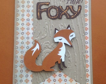 Hello Foxy Blank Greeting Card
