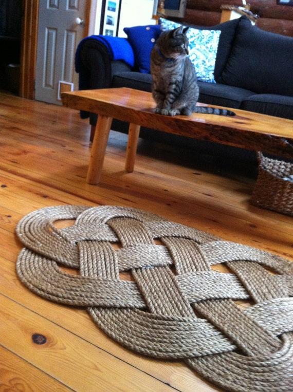 Nautical decor large rope doormat for Large nautical rope