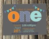 Blue, Aqua, orange and Gray First Birthday Invitation- Print Your Own