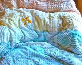 CUSTOM QUILT SAMPLE - Over The Pastel Rainbow - A Handmade Chenille Quilt Throw