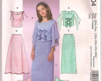 Butterick 4704 Girls Plus Lined Tops Lined and Unlined evening length skirts and scarf special occasion sewing pattern 10.5 12.5 14.5 16.5