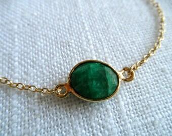 Green emerald bracelet - green bracelet - gold bracelet - K A T E 255