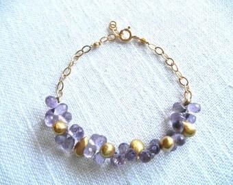 Amethyst bracelet - gold bracelet - purple bracelet - lavender amethyst - V I D A 287