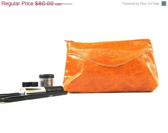 Leather Makeup Bag, Leather Cosmetic Bag, Leather Pouch, Leather Clutch, Leather Evening Bag  - in Pure Honey - CLEARANCE SALE 50% OFF