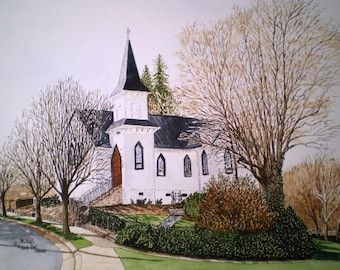 Winter Afternoon Print from the Original Watercolor of an Old Church in Elkin North Carolina