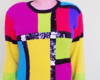 Vintage 80s COLORBLOCK Sweater - Medium Large - Lambswool Angora