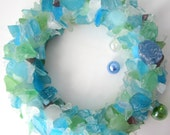 Beach Decor Sea Glass Wreath - Nautical Decor Beach Glass Wreath in CUSTOM COLORS