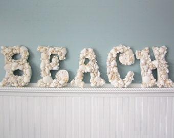 Beach Decor 5 pc BEACH Shell Letters - Nautical Decor Decorative Seashell Wall Letters,  5PC - #WBEACHL, #CBEACHL