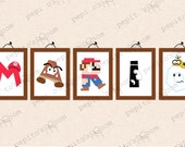 Print-INK Super Mario Bros. Personalized Single / Individual Letters Wall Art - DIY Digital Printable PDF
