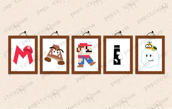 Print INK Super Mario Bros Personalized Single Individual Letters