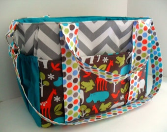 Extra Large Diaper bag Made of Chevron / Zoology Fabrics / 10 Pockets / Adjustable Strap - Diaper Bag - Tote Bag - Monogramming Available
