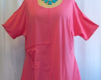 Coco and Juan, Lagenlook,  Women's Plus Size Top, Cold Shoulder, Cotton Knit,  Angled Tunic Top, Candy Pink, One Size Bust  to 58 inches