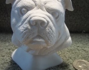 Bulldog Bust in Ceramic Bisque - Ready to Paint Bulldogs