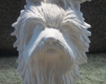 Yorkie Yorkshire Terrier Dog Bust in Ceramic Bisque - Ready to Paint  Dogs