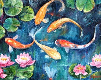 Popular items for koi fish painting on etsy for Blue and orange koi fish