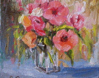 Print of oil Painting Floral Tropical Coral Hibiscus Peonies Still life impressionist