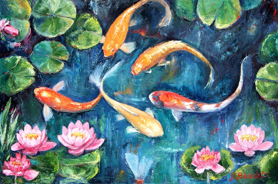 Original painting impressionist water lilies and koi fish oil for Koi artwork