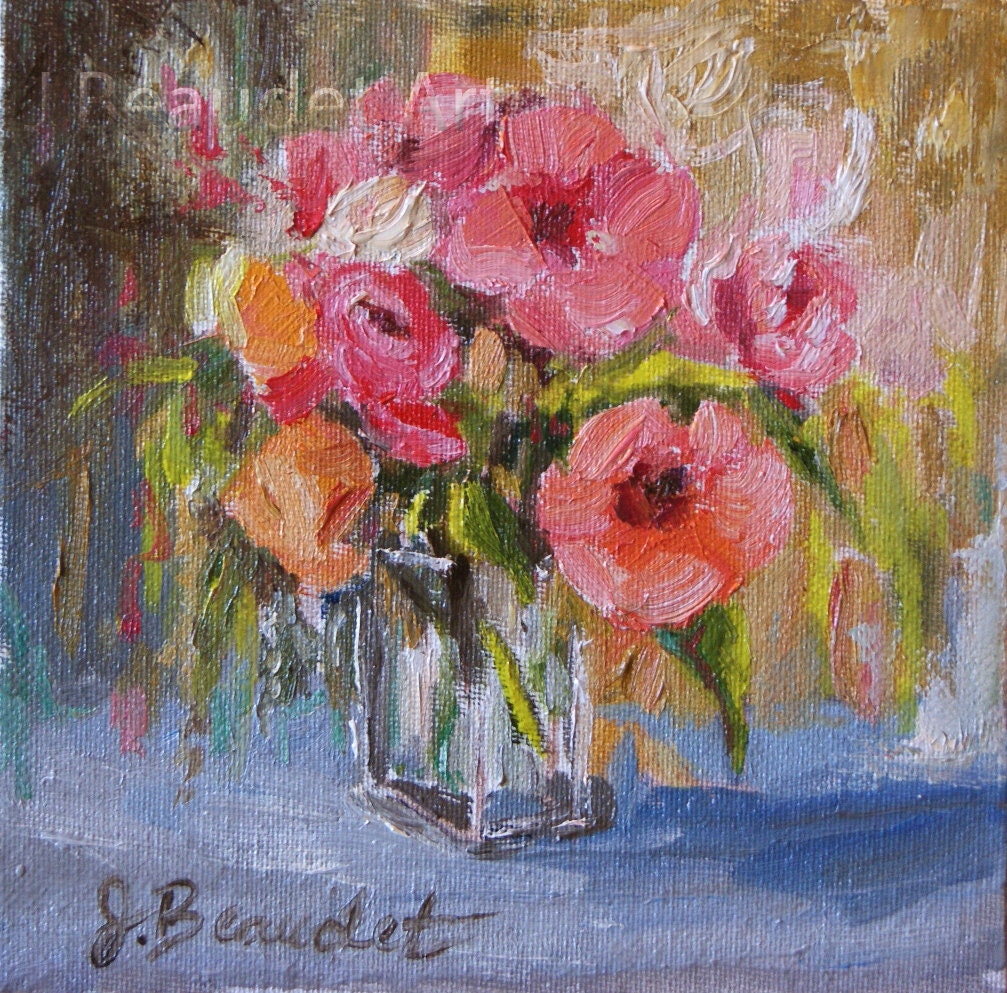 Print Of Oil Painting Floral Tropical Coral Hibiscus Peonies