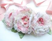Pink Roses Bridal Flowers Sash Belt, Shabby Chic Weddings Accessories, Pale Pink Ivory Bridal Sash, Bridesmaids Organza Flowers, Prom