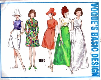 1960s Vogue 1870 (12 B34) Basic Design Dress Pattern High-Waist 5 Styles Office Career Evening Mod 1968 Womens Vintage Sewing Pattern 60s