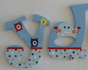 Hand Painted Baby Monsters Inspired Wall Letters