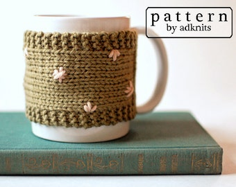 Mug Cozy Knitting Pattern, Digital PDF Download File