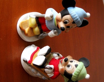 Vintage Mickey Mouse Figurines Walt Disney Sled Skier Porcelain 1970s