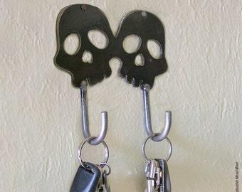 Twin Skull Handmade Metal Wall Hook by WATTO Distinctive Metal Wear / Key Hook /Dog Leash Hook