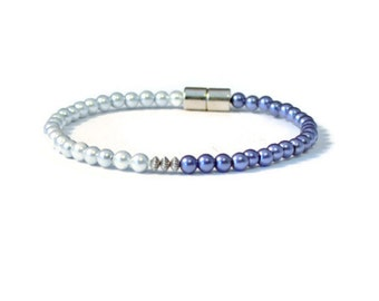 Silver & Sapphire Magnetic Hematite Bracelet, Arthritis Jewelry, Health and Wellness