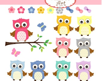 Owls clip art , cute owls on the branch,woodland clip art,summer Owls,blue,pink,coral,teal,owls,baby owls,instant download