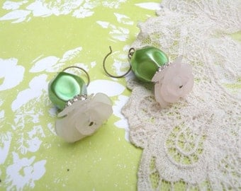 spring rose dangle earrings assemblage upcycled vintage jewelry green floral bead dangle cottage chic