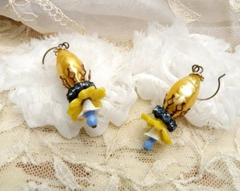 assemblage flower dangle earrings ucycle bead jonquil yellow