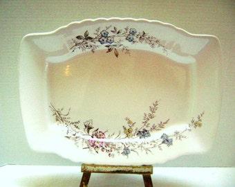 Vintage Brown Transferware Floral Platter, Shabby Chic Cottage Decor Plate, Johnson Bro England Antique, Flowers, Dresser Tray, Blue Brown