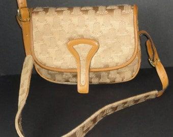1970s Lanvin Leather Trim Camel Color Jaquard Logo Shoulderbag. Paris. New York.