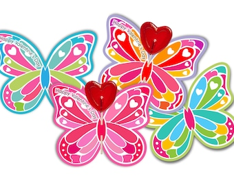 Valentine Cards for lollipops butterflies with editable text - digital